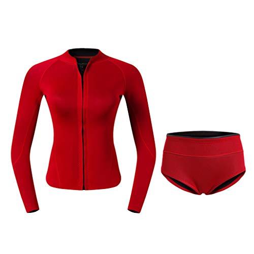 SM SunniMix 2mm Neopren Langarm Neoprenanzug Jacke Sonnenschutz Neoprenjacke mit Neopren Unterwäsche für Damen - Rot, L