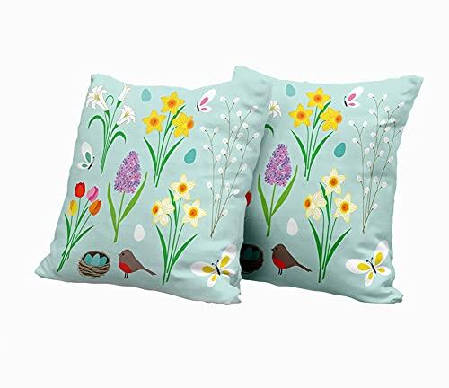 SAIAOS Kuddöverdrag 40 x 40 cm, färgglada blommor fjärilar och Robin S bo, set med 2 dekorativa fyrkantiga prydnadskuddöverdrag för vardagsrum soffa stol säng