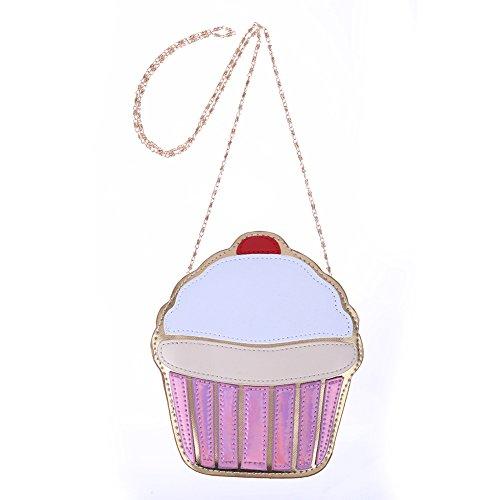 Demiawaking Damen Umhängetasche Eiscreme Mädchen Taschen PU-Leder Messenger Bags Kuchen Tasche (01)