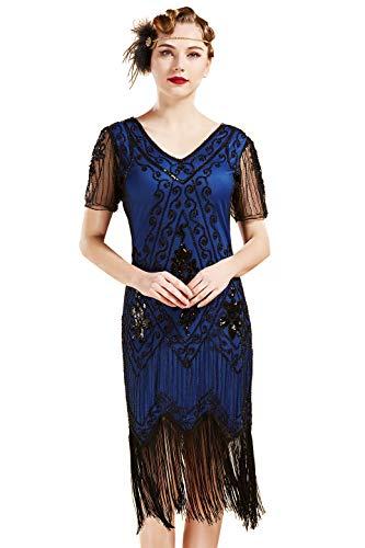 ArtiDeco - Vestido de mujer estilo años 20 con mangas cortas, disfraz de Gatsby para fiestas temáticas azul y negro M-36/38/40
