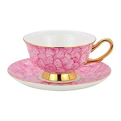 ACOOME Tea Cup and Saucer Set- 6.8oz Premium Quality Bone China Hand-made Golden Rim Gemstone Pattern Teacup (Pink)
