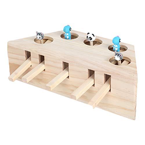 Ysoom Interaktives Katzenspielzeug, Holz, Spielzeug, Maulwurf Maus, Puzzle Box mit süßen Cartoon Spielzeugen für Katzen, Jagd, Spielen, Trainieren, Kratzen – 5 Löcher