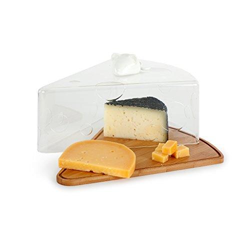 Balvi Porta Formaggi I Love Cheese A Forma di trancio di Formaggio con Un Topolino Ceramica Bianca Bamboo/Acrilico/Ceramic 28 cm
