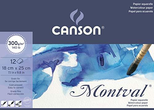 Bloc Encolado, 18x25 cm, 12 Hojas, Canson Montval, Grano Fino 300g