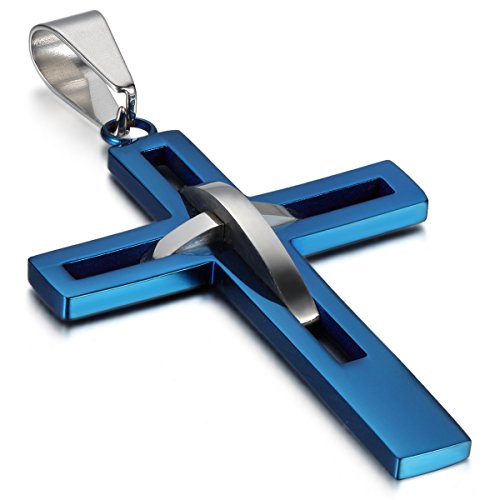 OIDEA Mens High Polish Stainless Steel Cross Pendant Necklace Hollow Openwork Vintage Chain Included,Blue