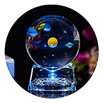 3D Crystal Ball with Solar System Model and LED Lamp Base ALLOMN mini 80mm Galaxy Crystal Ball Glass Sphere Best Gift for Kids Teacher of Phycics Boyfriend Girlfriend Birthday Lover of the Unive