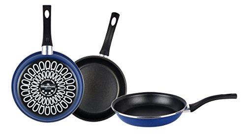 Magefesa Paula set van koekenpannen 18 Ø 22 Ø 26 Ø, anti-aanbak, verstevigd Bidet, buitenblauw, geschikt voor alle soorten kookplaten, inclusief inductie, staal, 3 stuks
