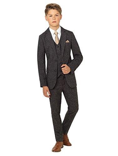Paisley of London Anzug für Jungen, Tweed-Anzug für Hochzeiten, grau - 11 Jahre