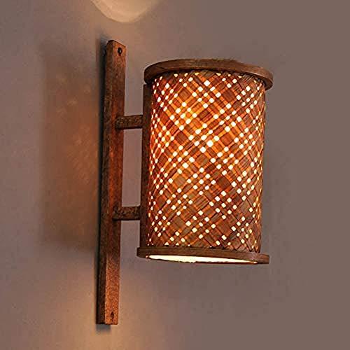 wandlampe- Vintage Holz Wandleuchte Kreative Landhaus Stil Handgefertigte Bambus Beleuchtung Leuchten E27 Sockel für Loft Flur Bar Balkon