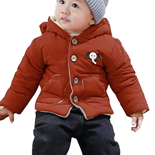Goosuny Goosuny Baby Gefütterte Winterjacke Mit Elefant Kapuze Wintermantel Winterjacke Mädchen Junge Neugeborenes Verdickte Baumwolljacke Trenchcoat Warm Winddicht Outerwear (Rot,90)