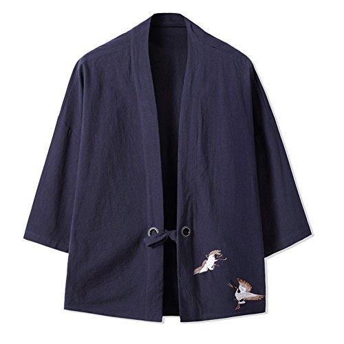 Veste Mince rétro des Hommes Chinois Kimono Japonais Robe Broderie Manteau-Marine, Marine, 3XL