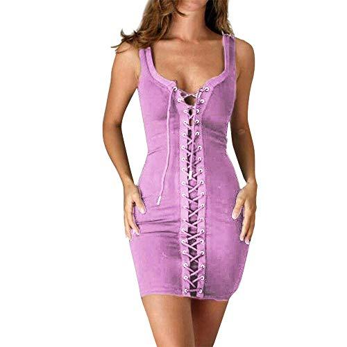 Aiserkly Sexy Mini Westekleid Damen V-Ausschnitt Bodycon Kleider Strappy Club Party BallKleid Abendkleid Cocktail Kleider Rosa S