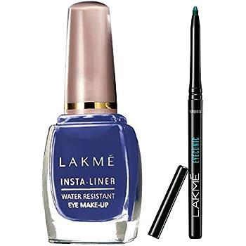 Lakmé Insta Eye Liner, Blue, 9 ml And Lakme Eyeconic Kajal, Turquoise, 0.35g