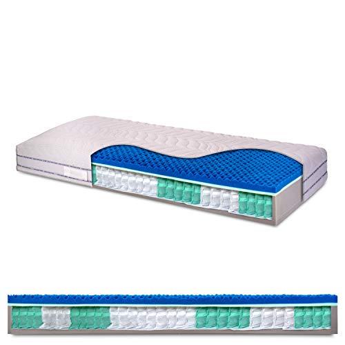 InMaterassi - Materasso singolo a molle indipendenti insacchettate, 5cm di Memory a 7 zone differenziate, ortopedico - GRETA - 90 x 200 cm (singolo)
