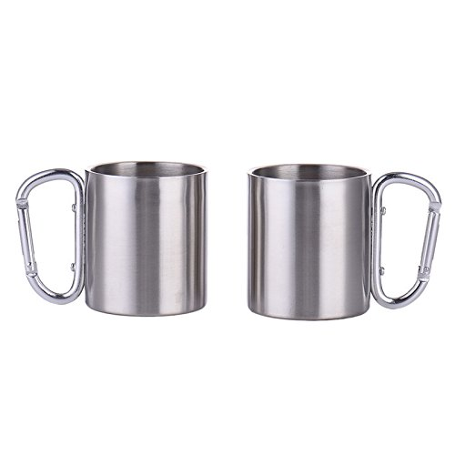 VizGiz 2 Pack Portable 180ml Stainless Steel Metal Cup Hiking Camping Traveling Outdoor Carabiner Climbing Cups Double Wall Mug with D-Ring Self-Lock Carabiner Hook Handle