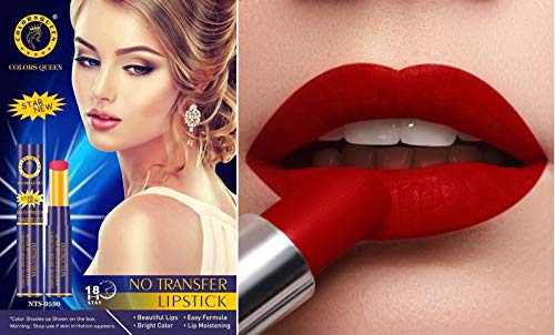 Colors Queen LIPSTICK STAR Premium Waterproof Non Transfer Pure Matte, 18 Hours Stay Shade Rich Red