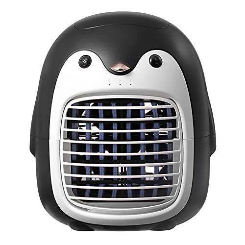 YXKA Ventilador Enfriador De Aire Portátil, Ventilador De Aire Acondicionado con 3 Velocidades De Viento, Ventilador Eléctrico Personal con Forma De Pingüino con Tanque De Agua, Ventila