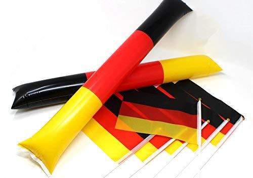 molinoRC 6X Deutschland-Fahne + 2X Klatsche   EM2020   Stockfahne   Fan-Set   Kinder-Fahne BRD   Clappers   Deutschland-Flagge        