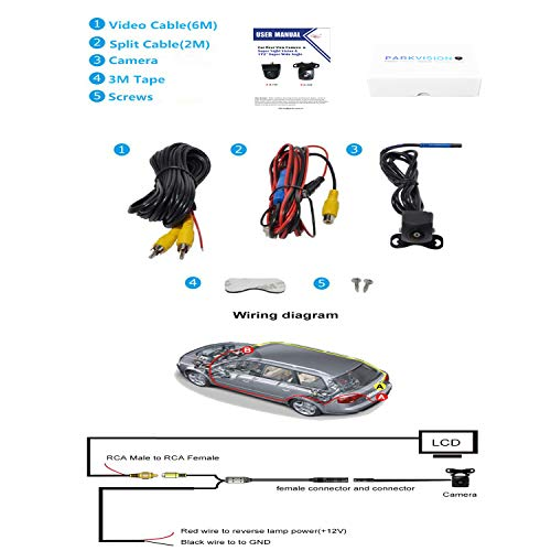 PARKVISION Car Reverse Backup Camera with Real 172 /° Horizontal Super Wide Angle,HD 1.3 Million Pixels,0 Lux Great Night Vision Visible Even at Dark Night,IP68Waterproof,Good for Suvs,RVs. ZL-191M