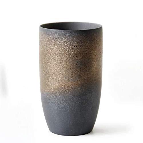 Designer Tassen aus Steinzeug mit verschiedenen Glassuren   Ideal für Kaffee, Tee, Barista, Spezialitäten Kaffee   Einzeln oder als Set mit gratis Bambustablett (Schwarz mit Gold und Glanzeffekt, 1)