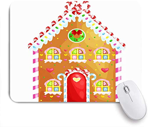Benutzerdefiniertes Büro Mauspad,Brown Lebkuchenhaus dekoriert Candy Icing Sugarchristmas Food Drink Feiertage Kuchen Bunte Keks,Anti-Slip Rubber Base Gaming Mouse Pad Mat
