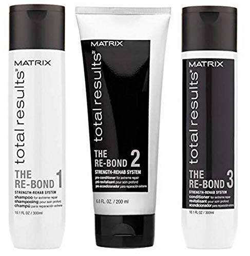 MATRIX TOTAL RESULTS RE-BOND TRIO, Re-Bond Shampoo 1 (300ml), Re-Bond Pre-Conditioner 2 (200ml), Re-Bond Conditioner 3 (300ml)