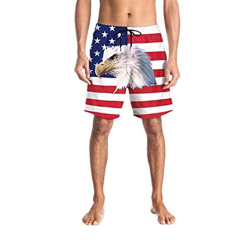 Chickwin 3D Gedruckte Strandhose, Gerade Graffiti Casual Badeshort Freizeit Kurze Herren Sommer Lässig Plus Größe Lustige Shorts Badehose in Vielen Farben (XL,Amerikanische Flagge)