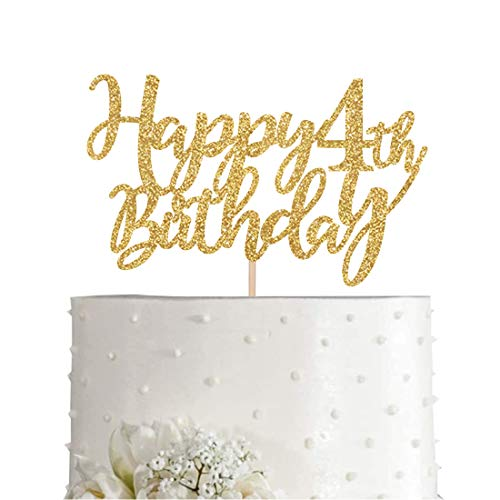 Gold Glitter Happy 4th birthday cake topper, Gold 4 years old birthday party decorations, girl or boy birthday cake toppers