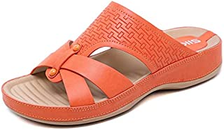 HMJZLwww Summer New Cool Drag Comfortable Thick Metal Large Size Casual Slippers (Color : Orange, Size : 41EU)