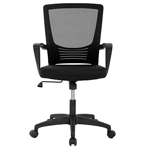 Home Office Chair Ergonomic Desk Chair Mesh Computer Chair Lumbar Support Modern Executive Adjustable Rolling Swivel Chair Comfortable Mid Black Task Chair, Black