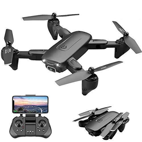 tyuiop Drone GPS, Cuadricóptero RC Plegable Drone FPV Profesional con Cámara HD 4K + 1080P, Sígueme, Zoom de 50x, Negro (Regalo: Bolsa de Almacenamiento y Gafas VR)