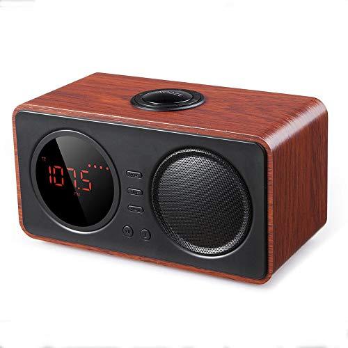 Draadloze Luidspreker Houten Retro Wekker Wireless Bluetooth Speaker Ondersteuning TF Card AUX Met Charging Cable Audio Cable Thuis Winkel Koffie Bar (Color : C1, Size : 195X92X104mm)