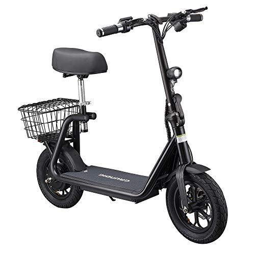 GRUNDIG Elektroroller 12 Zoll Tire Elektro Scooter Klappbar 500W Motor Lithium Batterie mit Sitzkorb with Seat E-Roller für Erwachsene und Jugendliche (schwarz)
