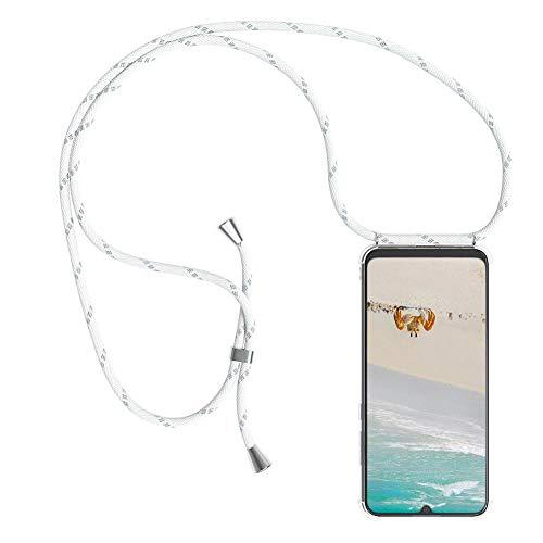 Mkej Trendige Handykette kompatibel mit Xiaomi Redmi 6A Handyhülle, Durchsichtig TPU Silikon Smartphone Necklace Hülle Band zum Umhängen mit Kordel in Umhängeband - Silber weiß
