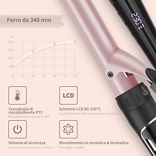 Ferro Arricciacapelli 6 in 1 LCD 80°C – 230°C Temperatura Regolabile Ceramica con Ferri di Diverso Diametro di ELEHOT Cura della persona