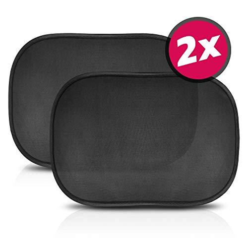 SMARTCAR ADDS zonwering auto baby met UV-bescherming - Car Sun Shade incl. 6 zuignappen & transporttas, zonneklep auto in neutraal zwart 44x36 cm zwart