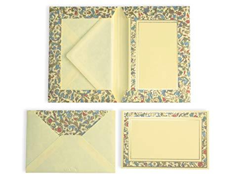 Briefkarten Set vintage Medicea   10 Bögen dickes Schreibpapier mit DIN B6 Umschlägen I passend für Einladungen, Geburtstag, Valentinstag, Hochzeit, Weihnachtskarten   besonderes kleines Briefpapier