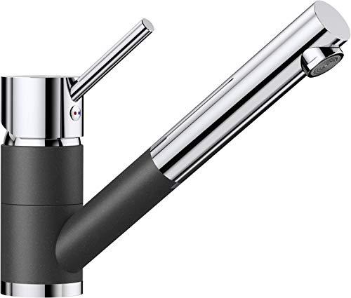 BLANCO Antas-S Küchenarmatur / Kompakter Einhebelmischer Silgranit-Look in Anthrazit-Chrom mit ausziehbarer Schlauchbrause / Hochdruck