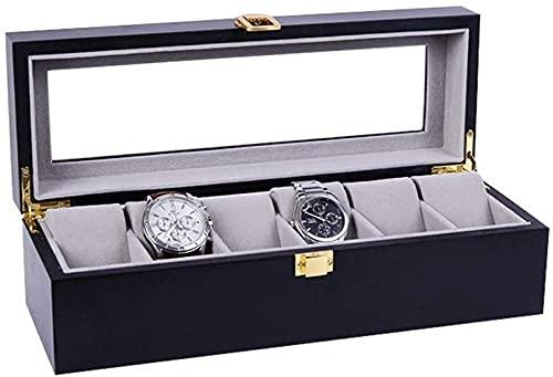 Caja de almacenamiento para relojes de 6 personas, madera, pintura de piano, almacenamiento de cristal
