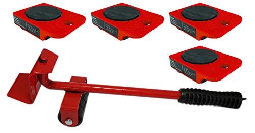 Möbelset rot Transportroller Möbelheber (1 Möbelheber und 4 Transportroller rot)
