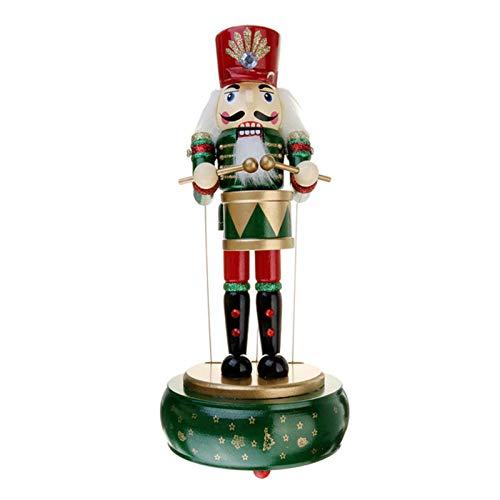 Nussknacker Spieluhr - 32cm Holz Weihnachten Nussknacker Aufziehen Uhrwerk Spielzeug Soldat Figuren für Zuhause Tische Regale Dekor Ornamente Sammlerstücke Geschenke