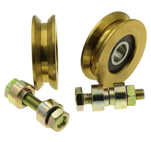 V50-8 - Juego de 2 ruedas para puerta corredera con ranura en V (50 mm de diámetro, eje de 8 mm)