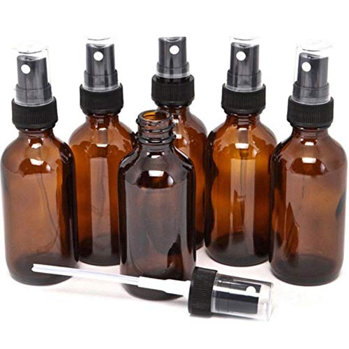 RYUNQ Botellas de espray de ámbar vacías botella de vidrio atomizador rociadores de niebla paquete de 5 100 ml pequeño dispensador organizador contenedor para perfumes cosméticos aceites esenciales