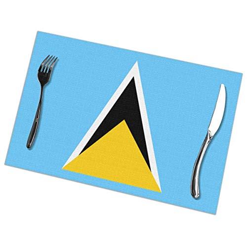 Tischsets, Abgrifffeste  Abwaschbar  Waschbare  Antifouling Platzdeckchen 6er Set, Platz-Matten für küche and Restaurant, Flagge von Saint Lucia (12×18inch)