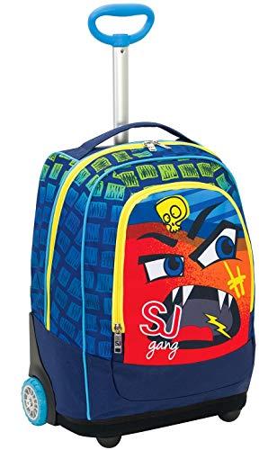 Big Trolley Facce da SJ, 33 Lt, Blu, Sistema 2in1 Zaino con Sollevamento Spallacci per uso Trolley, Scuola & Viaggio