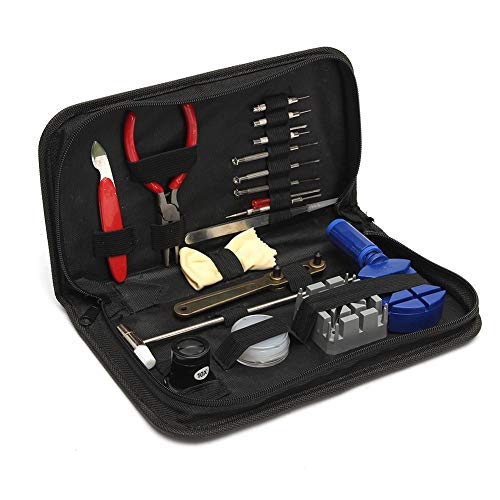 Herramienta de reparación de relojes, juego de herramientas de reparación de correa 19 en una, material metálico, para reemplazar la correa y abrir la caja