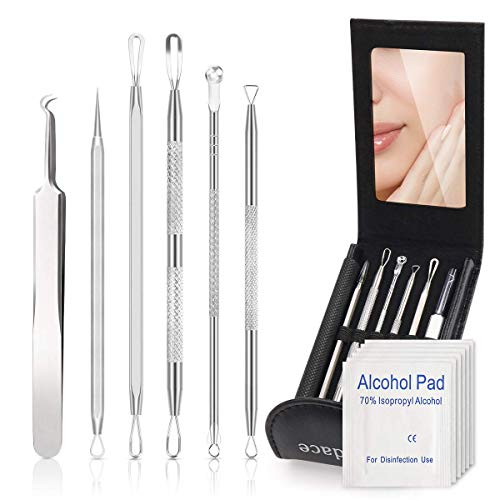 Pimple Popper Tool Kit,Blackhead Remover kit,6 PCS Ingrown Hair Removal Kit,White heads Removers,Pore Extraction Tool,Facial Skin Acne Zit Tools With6 pcs Disinfectant Cotton.