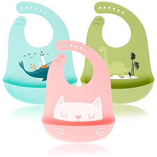 Sinwind Baberos Silicona Bebe, 3 Pcs Bebé Baberos de Silicona Impermeable Baberos con 6 Botones Ajustables Bebés Baberos Drool para Niños Niñas Cómodo Y Limpie Fácilmente
