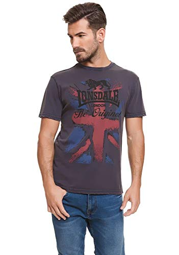 Lonsdale London Union Jack T-shirt blauw maat S, M, L, XL, XXL.