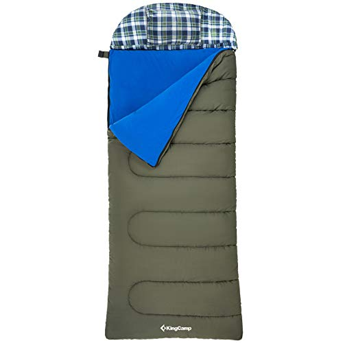 "KingCamp 3-in-1 Rectangle Flannel Sleeping Bag Loft 500g/㎡Oversize 90.5""×35.4"" 3-4 Season 100% Cotton Sleeping Bags with Washable Liner, Pillow and Portable Handbag for Camping"
